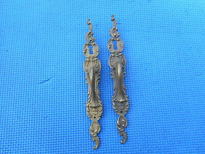 2 Vintage Cast Brass Door Handle Pulls With Key Hole Cover Plate French Cabinet