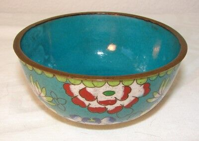 Vintage or older Asian, Chinese cloisonne turquoise bowl with flowers