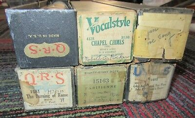 Lot Of 6 Vintage Player Piano Roll, Vocalstyle, Qrs, Eighty-Eight, Us, 1601,4128