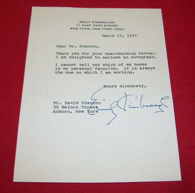 EMILY KIMBROUGH Autograph on letterhead 1977 author Our Hearts Were Young & Gay