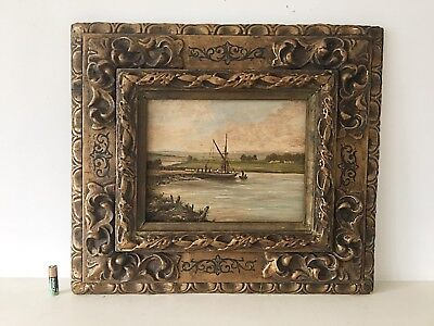 Antique Oil Painting Landscape Ornate Gilt Frame Early 18th Century