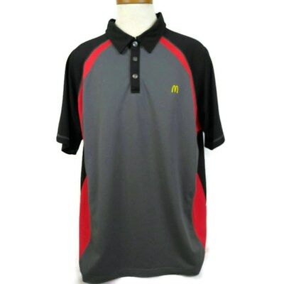 McDonalds Apparel Collection Polo Shirt Size XL Fast Food Crew Red Black Gray
