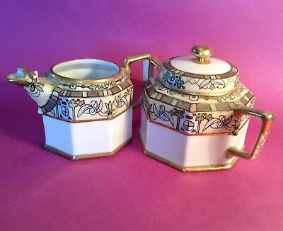 Nippon RC Noritake Sugar Bowl And Creamer - Hand Painted Art Deco Doves - Japan