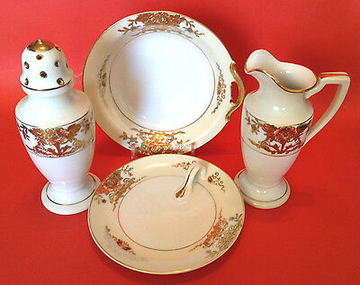 Noritake 1918 Crepes Set - Syrup Ewer- Sugar Shaker- Butter Nappy- Berry Bowl