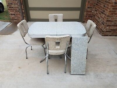 Retro Dining Table Vintage 50's Mid Century Modern Style Chrome Kitchen