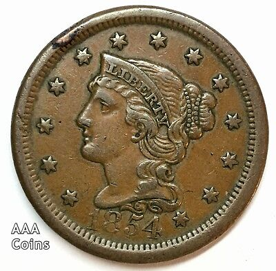 1854 AU Philadelphia Mint N-23 R-2 Braided Hair Large Cent 83151043