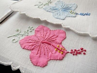 VIVID Lush HIBISCUS Vintage Portugal Hand Embroidery 6 Linen Cocktail Napkins