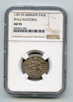 1707 CP Germany 2 Albus Pfalz- Electoral Coin (AU55) NGC