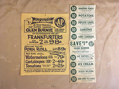 Vintage 1958 A & P Grocery Advertisement with Coupons Glen Burnie, MD