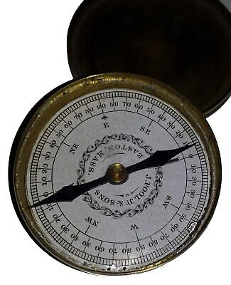 EARLY BRASS COMPASS J POOLE. No reserve!