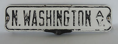Old Vintage Deco Metal Street Sign N Washington Ave 2 signs