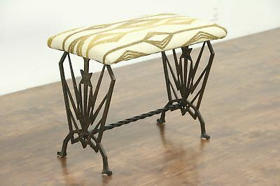Art Deco 1925 Antique Cast Iron Bench, New Upholstery
