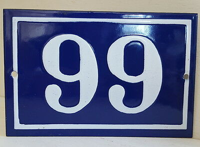 OLD FRENCH HOUSE NUMBER SIGN door gate PLATE PLAQUE Enamel steel metal 99 Blue
