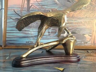 "Vintage Brass  Eagle Statue ~ Wood Base 14"" Wingspan America Bird"