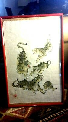 Vintage (framed or will sell unframed) Japanese Ink drawing signed tigers