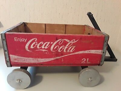 Vintage Red Coca Cola Crate Coke for 2 Liter Bottlles Made into Homemade Wagon