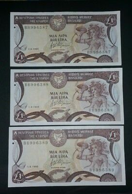 Cyprus lot of 3 banknotes 1 pound 1995 cons RARE