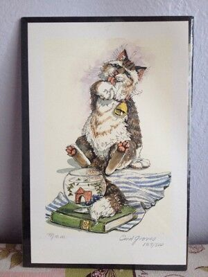 """WHIMSICAL CAT LIMITED EDITION SIGNED ENID GROVES PRINT Fishbowl """"Mmm"""" 189/500"""
