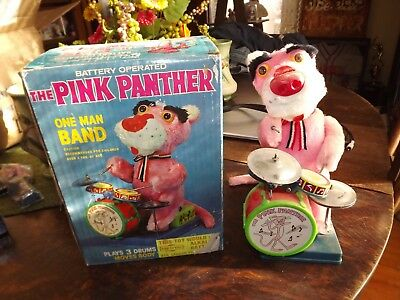 Vintage Pink Panther  Cartoon Collectible One Man Band with box-Works Illco