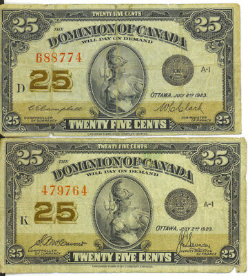Dominion of Canada 1923 25 Cents Shinplaster Lot of 2 McCavour-Saunders VG/F