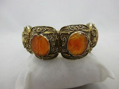 antique chinese export silver bracelet with carnelian, hallmarked China Armband