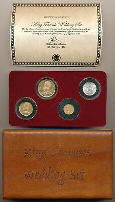 1938 Egypt King Farouk Wedding Set Gold And Silver Coins