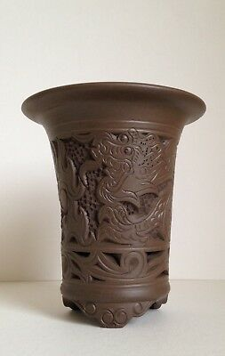 Signed Chinese Yixing Pottery Ceramic Carved Dragon Brush Pot, 3 DAY NR
