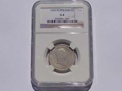 1830 Fh Poland Silver 2 Zlotych Ngc G-4 Very Nice! Must See!!