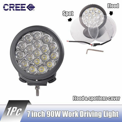 7' inch' 90W Cree Round Led Driving Work Light Truck 4x4 4WD + Flood/Spot Cover