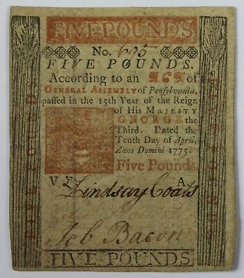 1775 Five 5 Pounds 100 Shillings Colonial Currency Hall Sellers Pensylvania Z2
