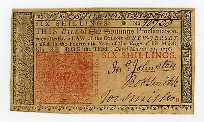 (NJ-178) March 25, 1776 6s NEW JERSEY Colonial Currency Note
