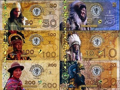POLYMER SET, El Club De La Moneda, 5;10;20;50;100;200 2016 > Native Americans