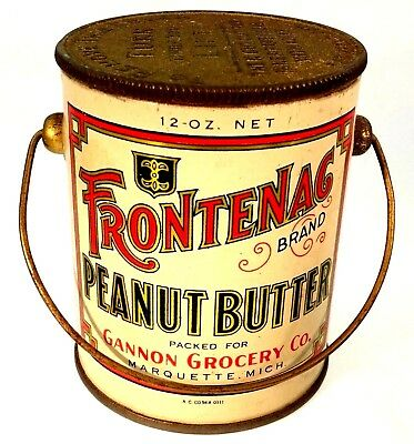 "Peanut Butter Tin, ""Frontenac"" with original Paper Seal-Uncut, and bail handle!"