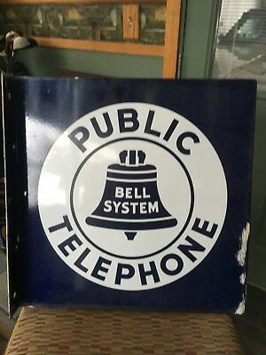 Vintage Bell System Public Telephone Double Sided Flanged Porcelain Sign 18x18