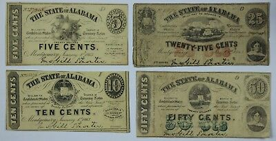 4x 1863 CSA 5c 10c 25c 50c Notes Fractional Currency Montgomery Alabama Old US