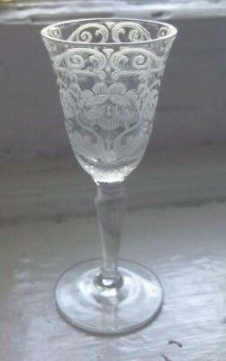 1920's / 30's 11 Etched ELEGANT GLASS CORDIAL STEMS Imperial Floral gorgeous