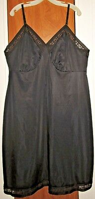 "Vintage Lorraine ""Perfect Fitting"" black nylon full slip w/ lace trim Plus sz 48"