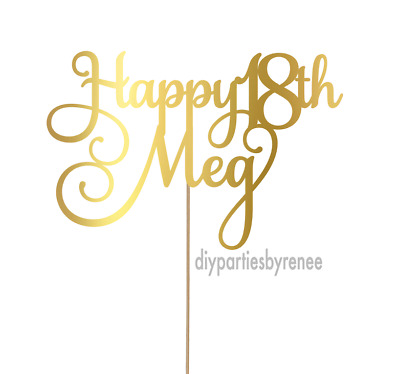Personalised Happy 18th Cake Topper - Assorted Colours - Eighteen - 18th Topper