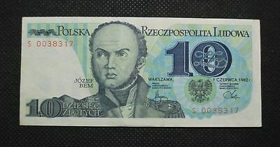 Bank Note Of Poland (People's Republic) 10 Zloty Jozef Bem (Very Good Condition)