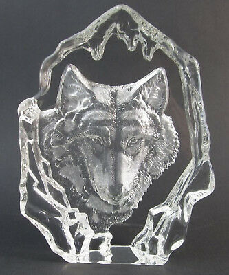 Wolf 3-D Crystal Block-Sculpture  Approx Size 16cm High