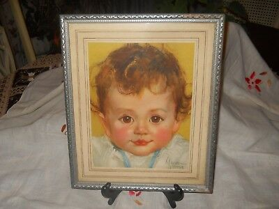 Vintage Childrens ART Print Signed MAUD TOUSEY 1930s Framed Rosy Cheek BABY