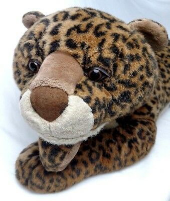 "JUMBO 36"" Vintage LEOPARD Big Cat Stuffed Plush * Well-Made & Super Silky Soft"