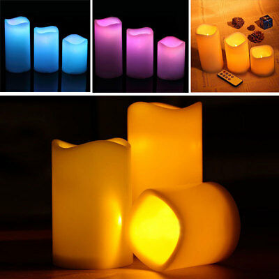 3pcs Flameless LED Flickering Candle Color Changing Wax Tea Light Battery+Remote