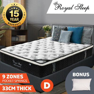 DOUBLE Mattress Euro Top 9 Zone Pocket Spring Latex Memory Foam Chiropractic