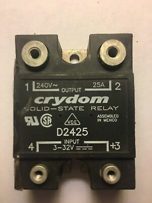 Used CRYDOM D2425 Solid State Relay SSR 3-32Vdc in, 240Vac Out, 25A