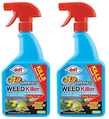 2 x Doff Fast Acting 24 Hour Weedkiller 1L Dandelions Clover Buttercup & More