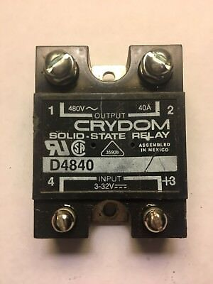 Used CRYDOM D4840 Solid State Relay SSR 3-32Vdc in, 480Vac Out, 40A