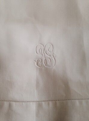 Antique French Linen Bed Sheet Monogrammed Gg