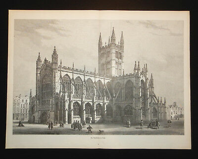 Abteikirche in Bath  Holzstich 1882  Abbey Church of Saint Peter and Saint Paul