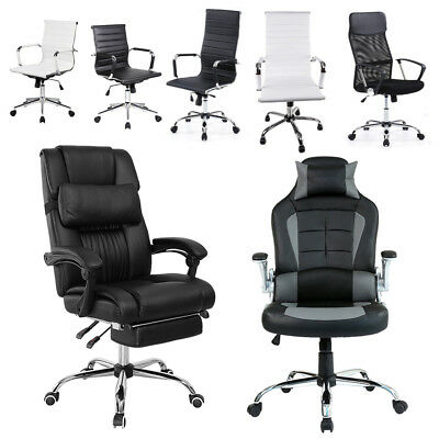 Modern Recliner Executive Office Computer Gaming Desk Chairs w/ Armrest/Footrest